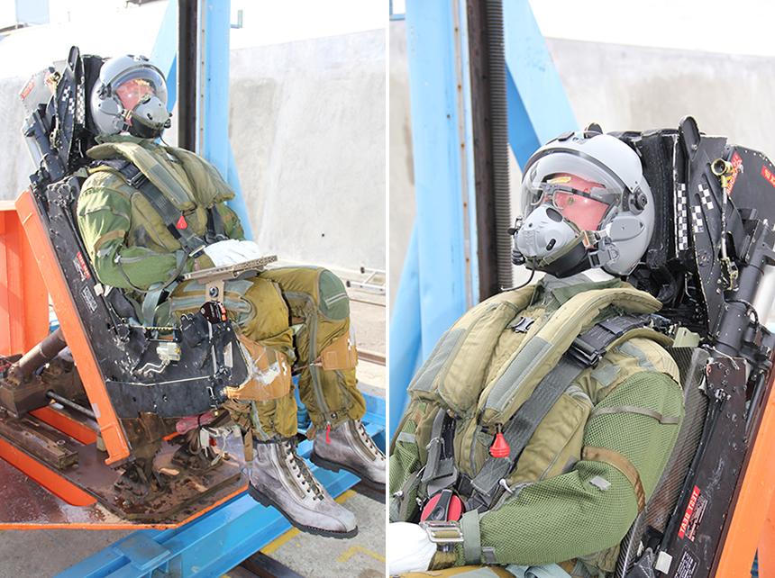 Essai tablette pour le CEAM (à gauche), essai pour des lunettes Eyetracker (à droite) © DGA Techniques aéronautiques